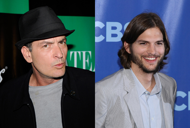 Ashton Kutcher, Charlie Sheen, Two and a Half Men, TaaHM, photocredit AFP